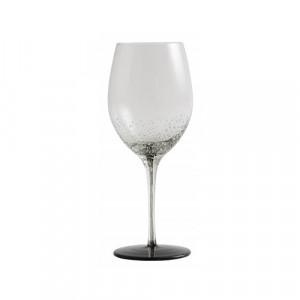 Pahar transparent/negru din sticla pentru vin 7,3x23,5 cm Bobble Nordal