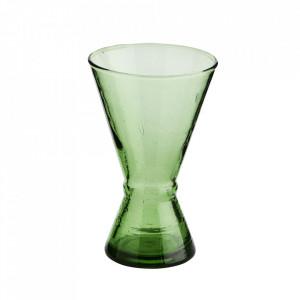 Pahar verde din sticla reciclata pentru vin 8x13 cm Beldi Madam Stoltz
