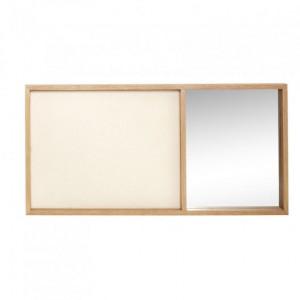 Panou memo maro/bej din canvas si lemn cu oglinda 40x80 cm Bulletin Board Hubsch