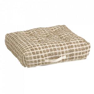 Perna de podea alba/maro din iuta 63x63 cm Adelma Kave Home