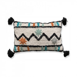 Perna decorativa dreptunghiulara multicolora din bumbac si fibre 35x50 cm Tamtam Opjet Paris