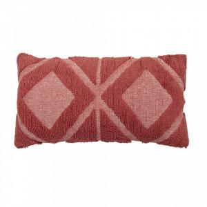 Perna decorativa drepunghiulara rosie din bumbac si poliester 35x60 cm Paarl Creative Collection