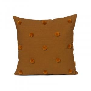 Perna decorativa patrata maro/galben mustar din bumbac 48x48 cm Dot Ferm Living