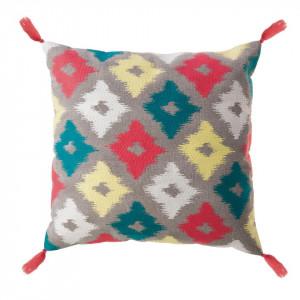 Perna decorativa patrata multicolor din bumbac 45x45 cm Huari Zago