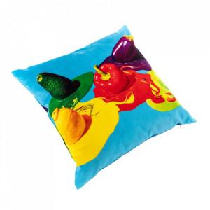 Perna decorativa patrata multicolora din poliester 50x50 cm Vegetables Toiletpaper Seletti