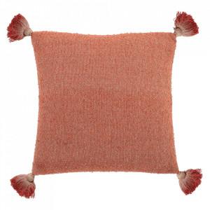 Perna decorativa patrata portocalie din bumbac si fibre acrilice 45x45 cm Boyce Bloomingville