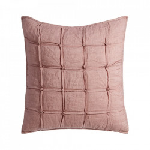 Perna decorativa patrata roz din in si bumbac 60x60 cm Devon Ixia
