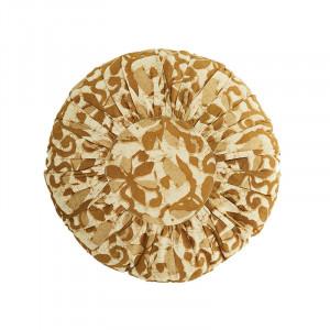 Perna decorativa rotunda crem/maro din bumbac si fibre 45 cm Leyla Madam Stoltz