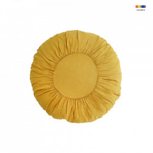 Perna decorativa rotunda galbena din in si fibre 60 cm Round Cushion Sunflower Madam Stoltz