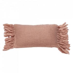 Perna decorativa roz din lana si viscoza 30x50 cm Bo Kids Depot