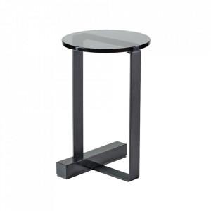 Piedestal gri/negru din sticla si otel 40 cm Wow Bolia