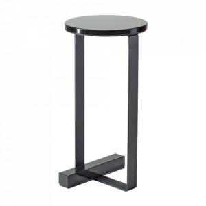 Piedestal negru din marmura si otel 50 cm Wow Bolia