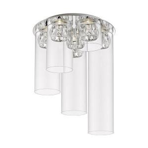 Plafoniera argintie/transparenta din metal si sticla cu 5 LED-uri Gem Zuma Line