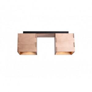 Plafoniera maro din metal si lemn cu 2 becuri Bit Aldex