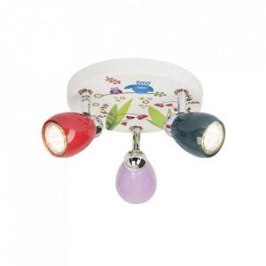 Plafoniera multicolora din metal cu 3 LED-uri Birds Brilliant