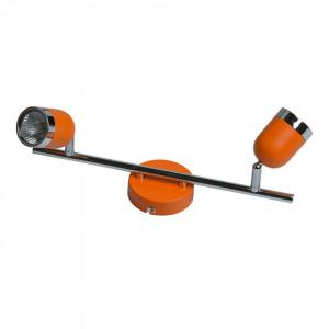 Plafoniera portocalie/argintie din metal cu 2 becuri Orion MW Glasberg