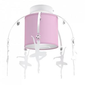 Plafoniera roz din metal si textil Baletnica Milagro Lighting