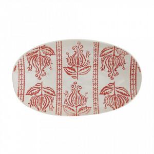 Platou alb/rosu din ceramica 14x23 cm Viola Bloomingville