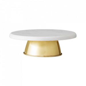 Platou cu picior alb/auriu din marmura si inox 28 cm Fredrica Bloomingville