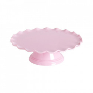 Platou cu picior roz din melamina 27 cm Wave A Little Lovely Company
