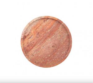 Platou decorativ rosu din travertin Red Marble Round Mini Versmissen