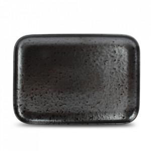 Platou negru din portelan 20x28 cm Oxido Fine2Dine
