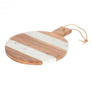 Platou pentru servire alb/maro din lemn de salcam si marmura 25x32 cm Valery Kave Home