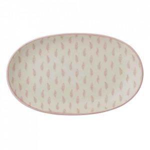 Platou roz din ceramica 13x21,5 cm Leaf Bloomingville
