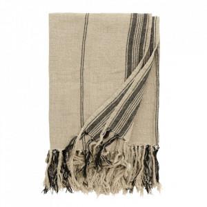 Pled bej/negru din bumbac 130x160 cm Blanket Stripes Nordal