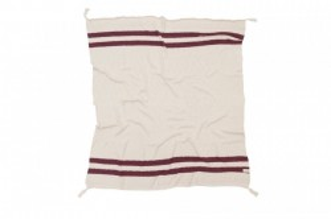 Pled crem/rosu burgund din bumbac 125x150 cm Stripes Natural-Burgundy Lorena Canals