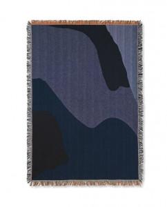 Pled din bumbac 120x170 cm Vista Dark Blue Ferm Living