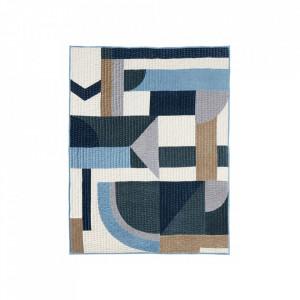 Pled matlasat multicolor din catifea si poliester 130x170 cm Patchwork Blue Nordal