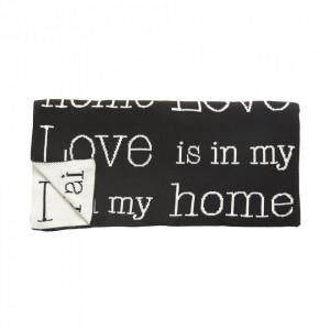 Pled negru/crem din bumbac 130x200 cm Love Hubsch
