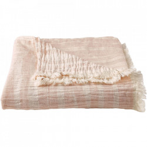 Pled roz deschis din bumbac si lana 130x170 cm Capri Bolia
