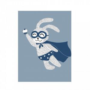 Poster albastru din hartie 30x40 cm Superhero Bloomingville Mini