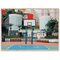 Poster cu rama stejar 30x40 cm Cities of Basketball 04 Paper Collective