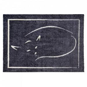 Pres dreptunghiular negru din poliamida pentru intrare 50x70 cm Cat Lako