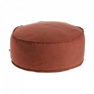 Puf rotund maro din textil 70 cm Maelina Kave Home