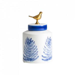 Recipient cu capac alb/albastru din ceramica 14x24 cm Melkart Vical Home