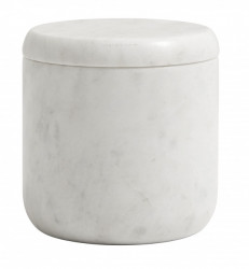 Recipient cu capac alb din marmura 10x10 cm Marble Jar Nordal