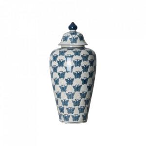 Recipient cu capac albastru/alb din ceramica 24,5x52,5 cm Flier Vical Home