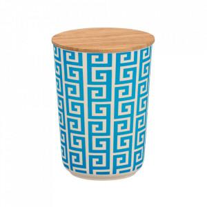 Recipient cu capac albastru/crem din fibre din bambus si lemn 700 ml Edge Wenko