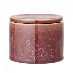 Recipient cu capac maro din ceramica Joelle Small Bloomingville
