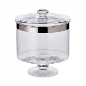 Recipient cu capac transparent/argintiu din cristal 15x19 cm Bonbon Edzard