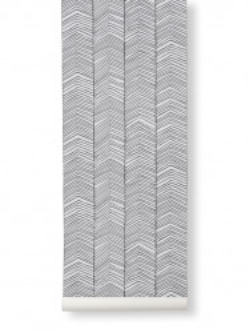 Rola tapet 53x1000 cm Herringbone gri Ferm Living