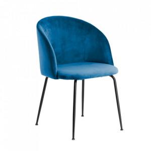 Scaun albastru din catifea si metal Laudelina Kave Home