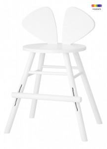 Scaun bar alb din lemn de stejar pentru copii Mouse Chair Nofred