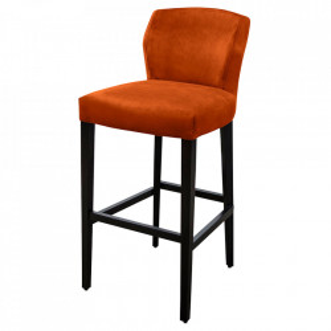 Scaun bar portocaliu/negru din catifea si lemn de fag Jasy Versmissen