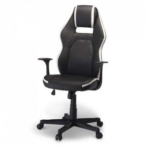 Scaun birou ajustabil negru/alb din poliuretan si plastic Space Furnhouse
