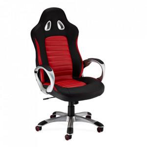 Scaun birou ajustabil negru/rosu din poliuretan si plastic Speedy Furnhouse